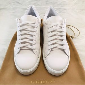 BURBERRY Perforated Check Leather Sneakers White